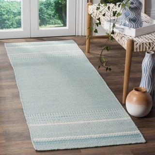 Safavieh Hand-woven Kilim Light Blue/ Ivory Wool Rug (2'3 x 7')