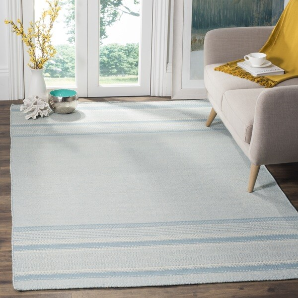 Safavieh Hand Woven Kilim Light Blue Ivory Wool Rug 4 X