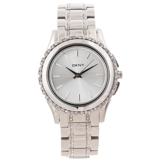 DKNY Women's Crystal Accented Silvertone Glitz Watch
