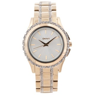 DKNY Women's Crystal Accented Goldtone Glitz Watch