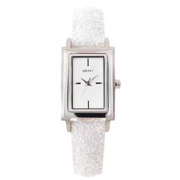 DKNY Women's Sparkling White Leather Strap Analog Watch