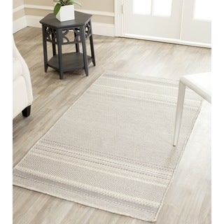 Safavieh Hand-woven Kilim Grey/ Ivory Wool Rug (3' x 5')