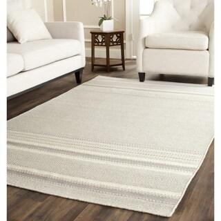 Safavieh Hand-woven Kilim Grey/ Ivory Wool Rug (4' x 6')