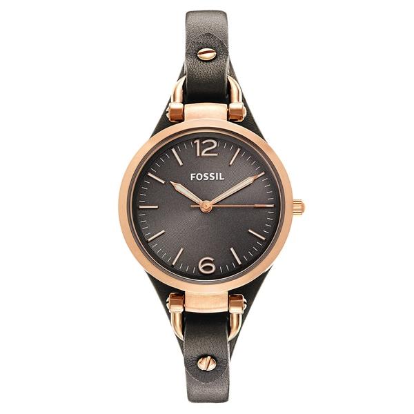 40253fca9 Shop Fossil Women's 'Georgia' Rose-goldtone Leather Strap Watch ...