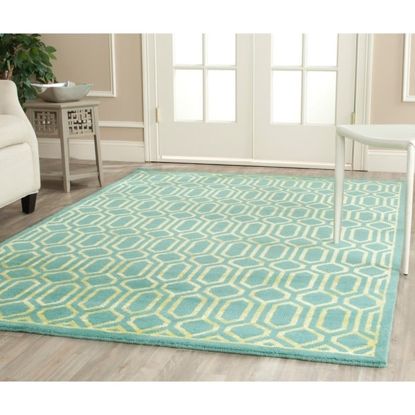 Safavieh Hand-knotted Mosaic Aqua/ Light Gold Wool