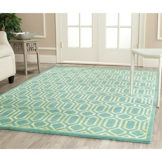 Safavieh Hand-knotted Mosaic Aqua/ Light Gold Wool/ Viscose Rug (9' x 12')