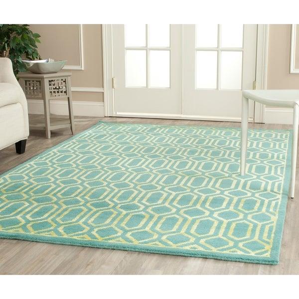 Safavieh Hand-knotted Mosaic Aqua/ Light Gold Wool/ Viscose Rug - 9' x 12'