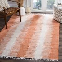 Safavieh Hand-woven Montauk Orange Cotton Rug - 5' x 8'
