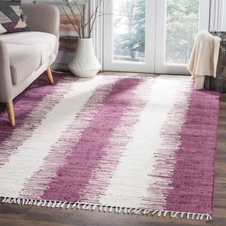 Safavieh Hand-woven Montauk Purple Cotton Rug (8' x 10')