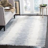Safavieh Hand-woven Montauk Grey Cotton Rug (8' x 10') - 8' x 10'