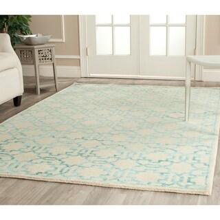 Safavieh Hand-knotted Mosaic Cream/ Aqua Wool/ Viscose Rug (8' x 10')