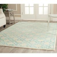 Safavieh Hand-knotted Mosaic Cream/ Aqua Wool/ Viscose Rug - 8' x 10'