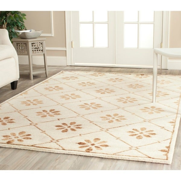 Safavieh Hand-knotted Mosaic Cream/ Light Brown Wool/ Viscose Rug (5' x 8')