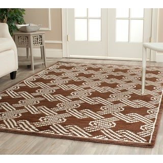 Safavieh Hand-knotted Mosaic Brown/ Cream Wool/ Viscose Rug (9' x 12')