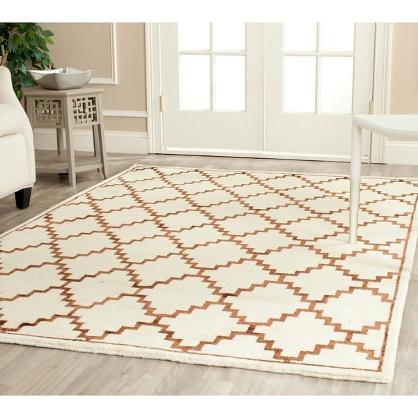 Safavieh Hand-knotted Mosaic Ivory/ Brown Wool/ Viscose Rug - 9' x 12'