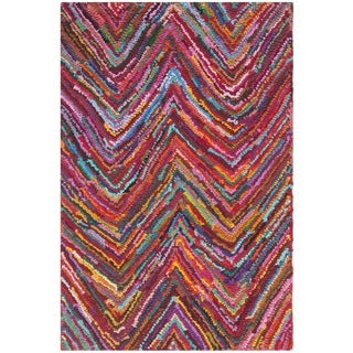 Safavieh Handmade Nantucket Abstract Chevron Pink/ Multi Cotton Rug (2' 3 x 4')