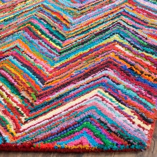Safavieh Handmade Nantucket Abstract Chevron Pink/ Multi Cotton Rug (3' x 5')