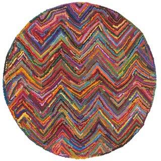 Safavieh Handmade Nantucket Abstract Chevron Pink/ Multi Cotton Rug (4' x 4' Round)