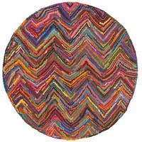 Safavieh Handmade Nantucket Abstract Chevron Pink/ Multi Cotton Rug - 4' Round