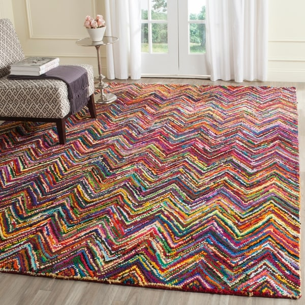 Safavieh Handmade Nantucket Abstract Chevron Pink/ Multi Cotton Rug - 8' x 10'