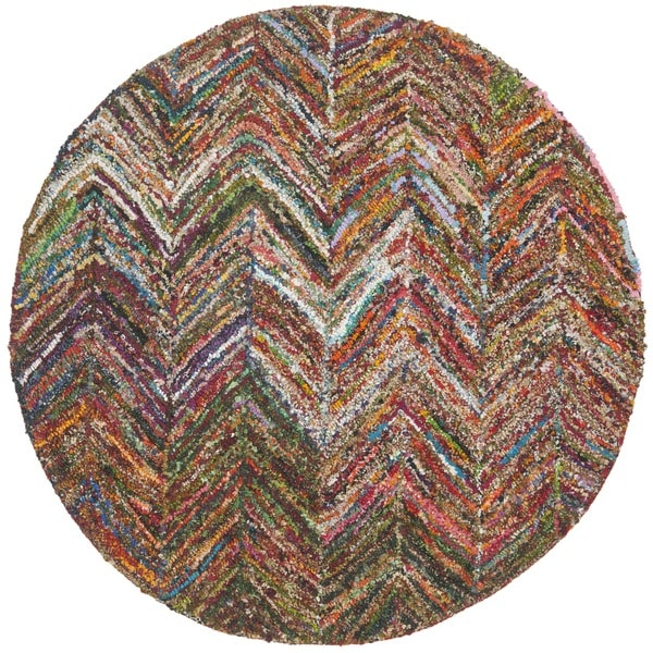 Safavieh Handmade Nantucket Abstract Chevron Multi Cotton Rug (4' x 4' Round)