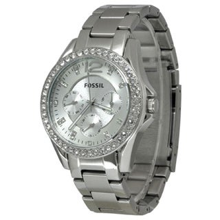 Fossil Women's ES3202 'Riley' Stainless Steel Crystal Accented Watch - silver