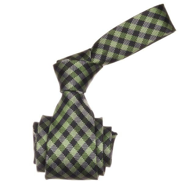 Republic Men's Green/ Black Gingham Microfiber Neck Tie