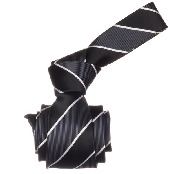 Republic Men's Black Stripe Microfiber Neck Tie