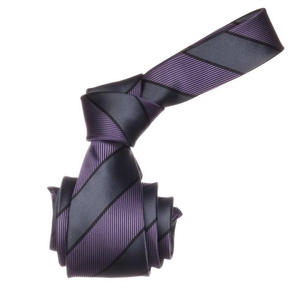 Republic Men's Purple/ Grey Striped Microfiber Neck Tie