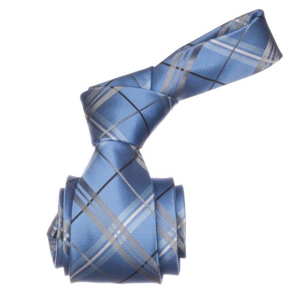 Republic Men's Blue Plaid Microfiber Neck Tie