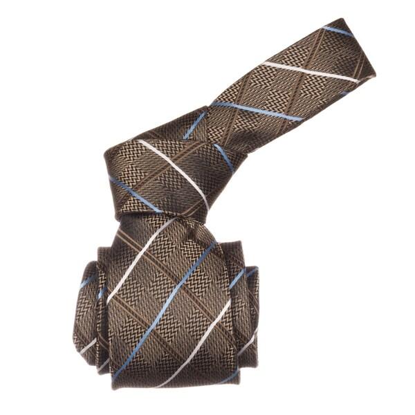 Republic Men's Brown Plaid Microfiber Neck Tie