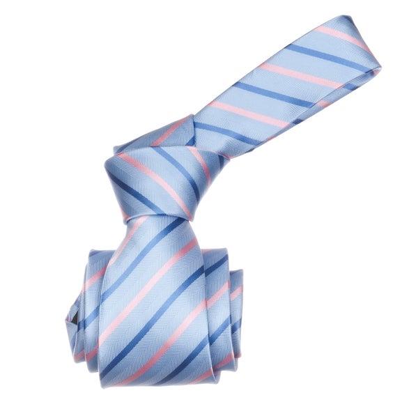 Republic Men's Light Blue/ Pink Striped Microfiber Neck Tie