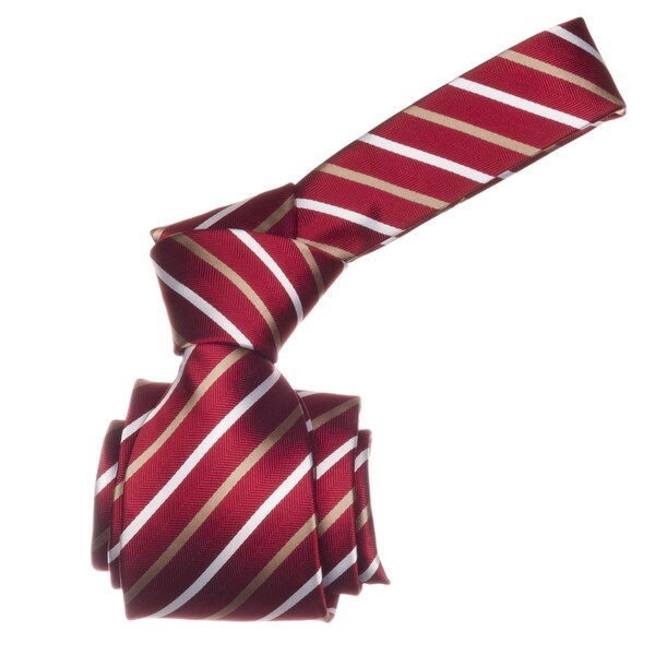 Republic Men's Red/ Tan Striped Microfiber Neck Tie