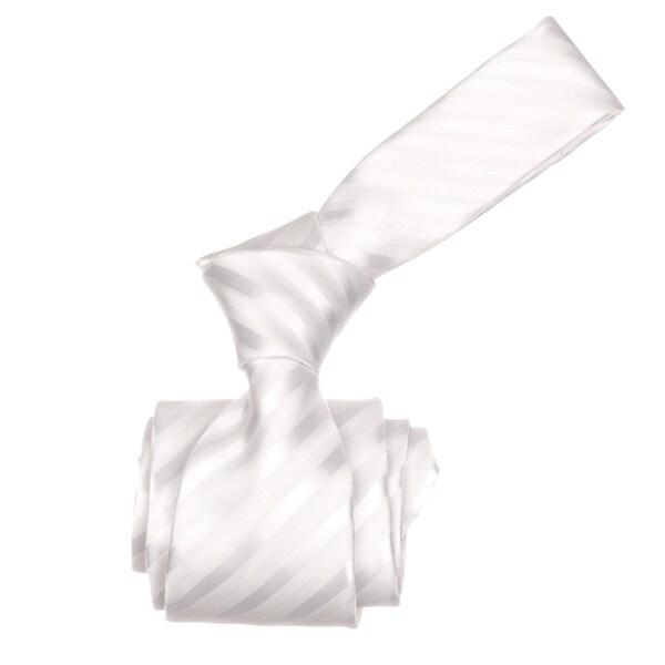 Republic Men's White Striped Woven Microfiber Neck Tie