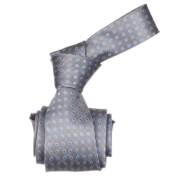 Republic Men's Grey/ Blue Dotted Microfiber Neck Tie