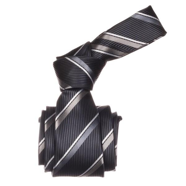 Republic Men's Charcoal Striped Microfiber Neck Tie