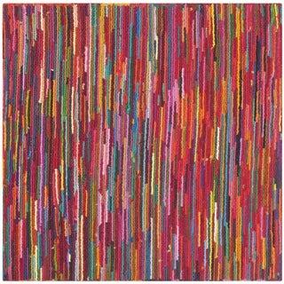 Safavieh Handmade Nantucket Abstract Pink/ Multi Cotton Rug (4' x 4' Square)
