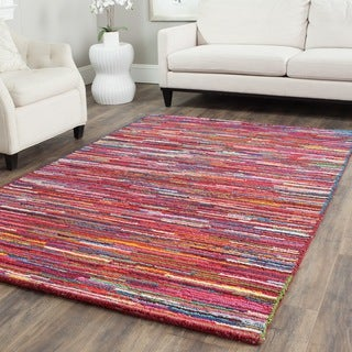 Safavieh Handmade Nantucket Abstract Pink/ Multi Cotton Rug (4' x 6')