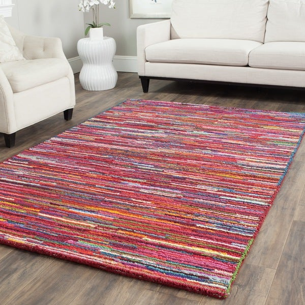 Safavieh Handmade Nantucket Abstract Pink/ Multi Cotton Rug (5' x 8')