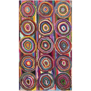 Safavieh Handmade Nantucket Modern Abstract Pink/ Multi Cotton Rug (3' x 5')