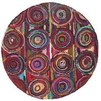 Safavieh Handmade Nantucket Modern Abstract Pink/ Multi Cotton Rug - 4' Round