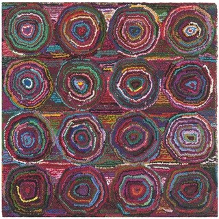 Safavieh Handmade Nantucket Modern Abstract Pink/ Multi Cotton Rug (4' x 4' Square)