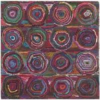 Safavieh Handmade Nantucket Modern Abstract Pink/ Multi Cotton Rug - 4' Square