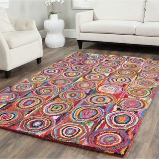 Safavieh Handmade Nantucket Modern Abstract Pink/ Multi Cotton Rug (4' x 6')