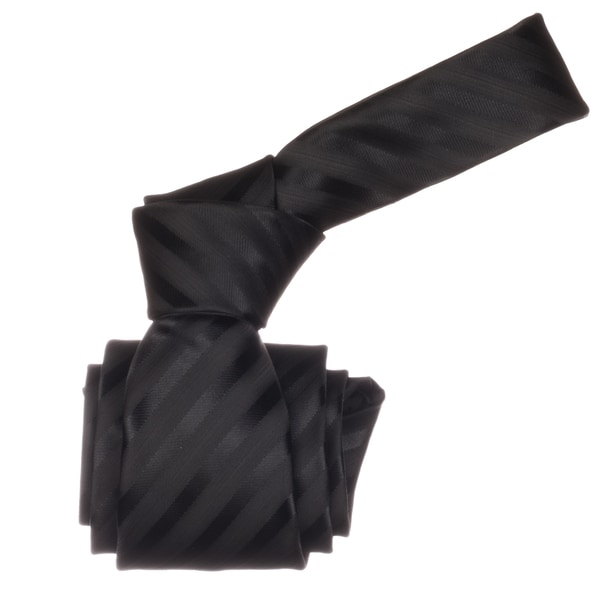 Republic Men's Black Striped Microfiber Neck Tie