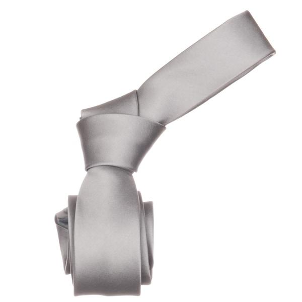 Republic Men's Solid Grey Woven Microfiber Neck Tie