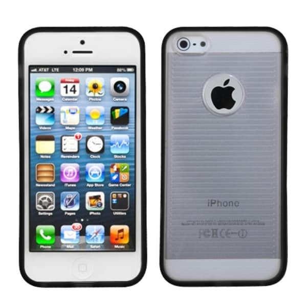 INSTEN Clear/ Black Gummy Phone Case Cover for Apple iPhone 5