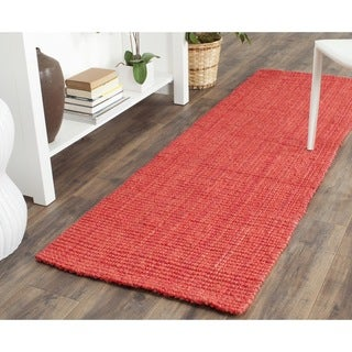 Safavieh Casual Natural Fiber Hand-loomed Sisal Style Red Jute Rug (2'3 x 7')