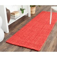 Safavieh Casual Natural Fiber Hand-loomed Sisal Style Red Jute Rug - 2'3 x 7'
