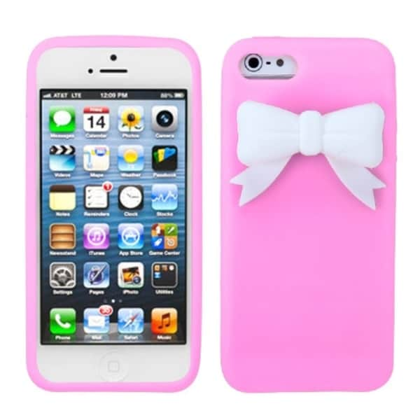INSTEN Light Pink/ White Bow Phone Case Cover for Apple iPhone 5